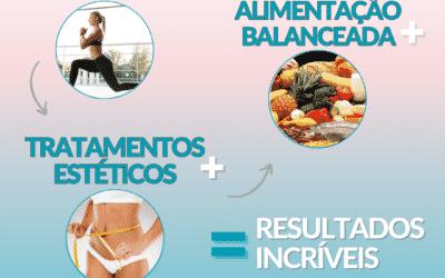 Exercícios físicos + Alimentação Balanceada + Tratamentos estéticos = Resultados incríveis